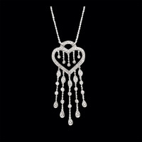 Diamond Heart & Tassel Necklace