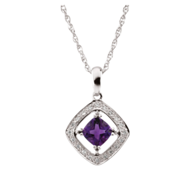 Gemstone Necklaces 14k White Gold Amethyst & Diamond Necklace