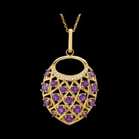 Gemstone Necklaces Amethyst Diamond Nest Design Necklace
