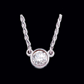 Diamond Solitaire White Gold Necklace