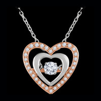Rose White Gold Diamond Heart Necklace