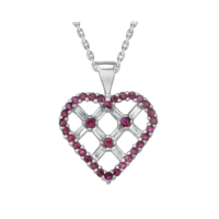 Ruby & Diamond Heart Necklace