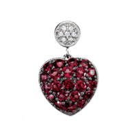 Garnet & Diamond Heart Necklace