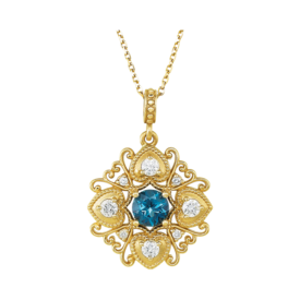 Romantic Diamond Blue Topaz Necklace