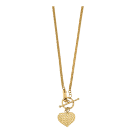 Gold Necklace Diamond Cut Heart Toggle Necklace