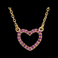 Gemstone Necklaces 14k Gold Ruby Heart Necklace