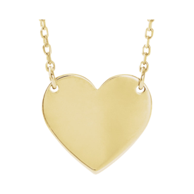 Gold Necklace 14k Gold Engravable Heart Necklace