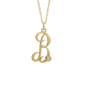 Gold Necklace 14k Gold Initial Diamond Accent Necklace