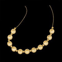 Fancy Diamond Cut Gold Necklace