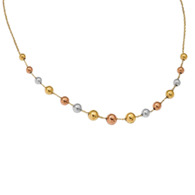 Gold Necklace 14k Tri-Color Gold Bead Necklace