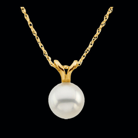 Simple Solitaire Pearl Necklace