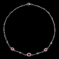 Gemstone Necklaces Pink Tourmaline and Diamond Necklace