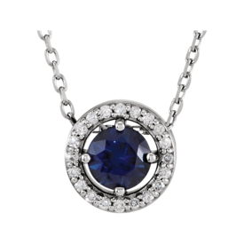 Gemstone Necklaces Diamond Halo Sapphire Necklace