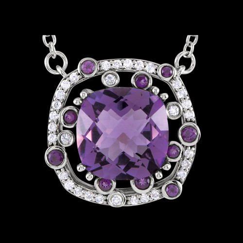 white gold amethyst diamond necklace