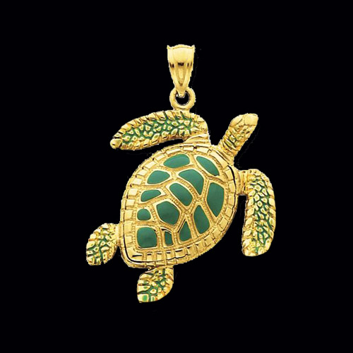 Gold enamel sea turtle pendant aloadofball Choice Image