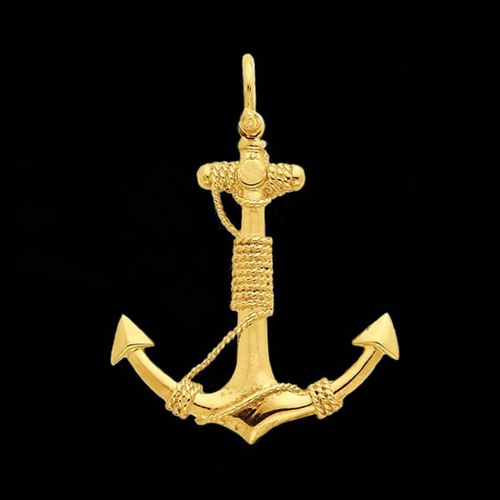 Large 3-D Solid Anchor with Rope Pendant