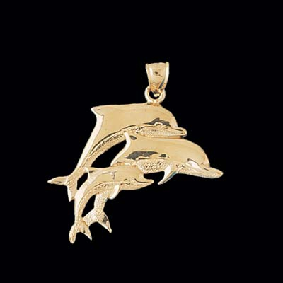 Dolphin Family Gold Charm