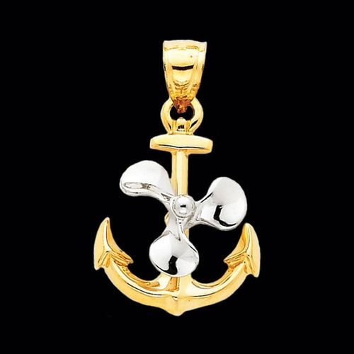 14k Gold 3-D Anchor with Moveable Prop Pendant