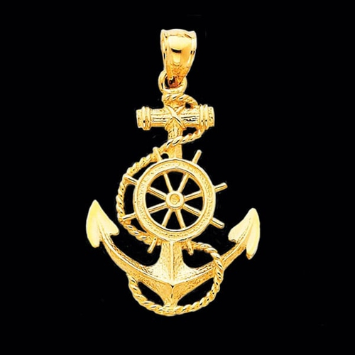 Anchor Pendant with Ships Wheel Accent