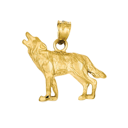 Gold Diamond-Cut Wolf Pendant