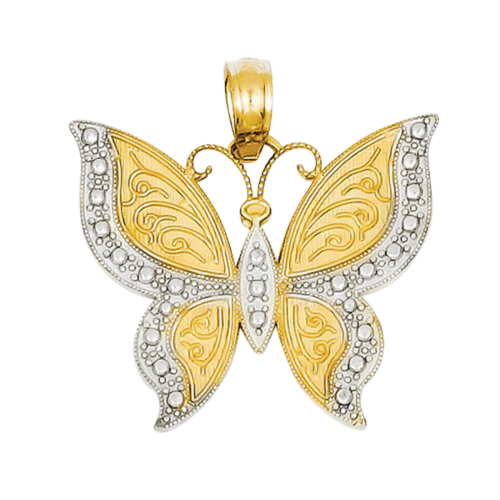 Gold Two Tone Butterfly Pendant