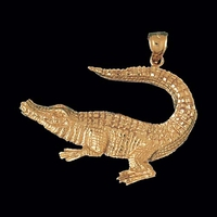 Bold Gold Alligator Pendant