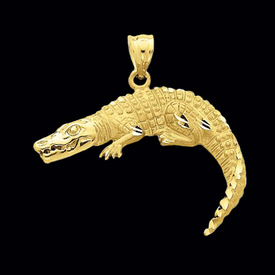 Striking Gold Crocodile Pendant