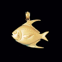 Nautical Gold Charms Fish Gold Pendant