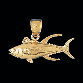Nautical Gold Charms 14kt Gold Tuna Pendant