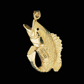 Nautical Gold Charms Big Gold Bass Pendant