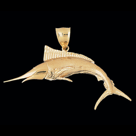 Incredible Trophy Gold Marlin Pendant