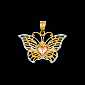 Other Gold Pendants Tri Color Butterfly Heart Pendant