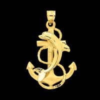 Dolphin on Anchor Pendant