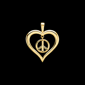 Other Gold Pendants Peace Sign Heart Pendant