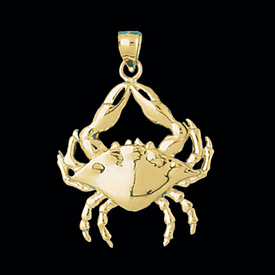Large Gold Crab Pendant