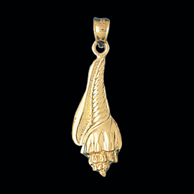 Nautical Gold Charms Fancy Gold Shell Pendant