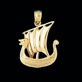 Nautical Gold Charms Simple Gold Viking Ship