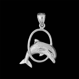 Nautical Gold Charms Jumping Dolphin Gold Pendant