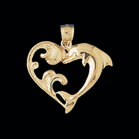 Nautical Gold Charms Dolphin Heart Gold Pendant