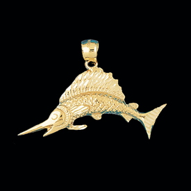 Nautical Gold Charms Gold Sailfish Medium Pendant