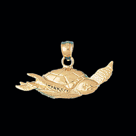 Nautical Gold Charms Gold Swimming Sea Turtle