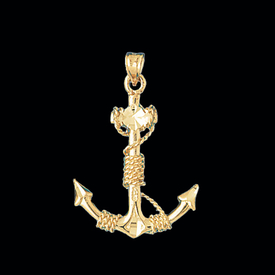 Nautical Gold Charms Anchor & Rope Gold Pendant