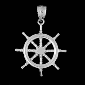 Nautical Gold Charms Gold Ships Wheel Pendant