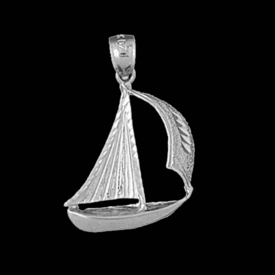 Nautical Gold Charms 14kt Gold Sailboat Pendant