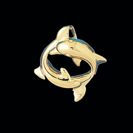 Nautical Gold Charms Gold Circle of Dolphins Pendant