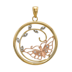Butterfly in Circle Pendant