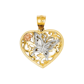 14kt Gold Tri Color Butterfly Heart