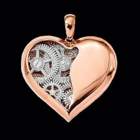 Other Gold Pendants 14k Gears Inside Heart Pendant