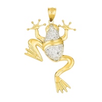 14k Gold Diamond Cut Frog Pendant