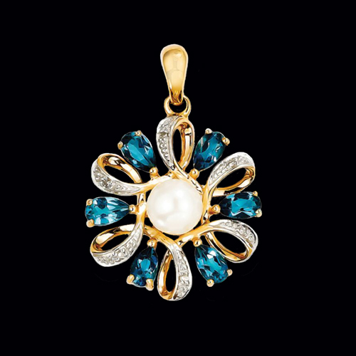 Pearl Blue Topaz and Gold Pendant